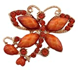JOTW 8 Pieces of Gold with Orange Iced Out Butterfly with Stones Brooch & Pin (X-1765)