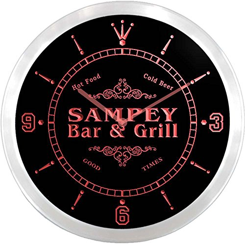 ncu39160-r SAMPEY Family Name Bar & Grill Cold Beer Neon Sign LED Wall Clock