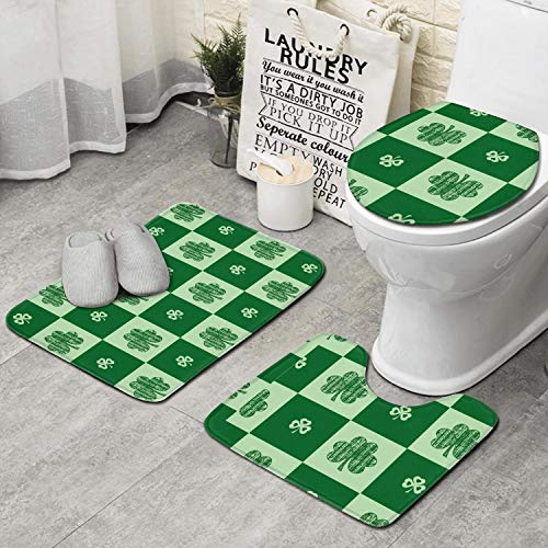 RTRTRTWQE St. Patrick's Day Set of 3 Bathroom Mat Home Extra Soft Latex Backing Non Slip Adds Create Pattern to Any Bathroom -