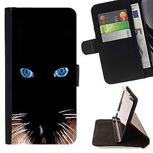 Momo Phone Case / Flip Funda de Cuero Case Cover - Negro del gato siamés Bigotes Ojos; - Samsung Galaxy S6 Active G890A
