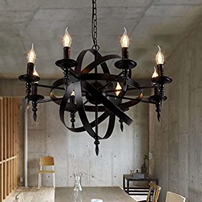 BBSLT-Vintage industrial chandelier, American nostalgia, living room, bar, creative, wrought iron candle chandelier, restaurant art