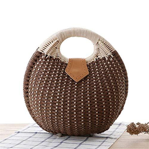 Coffee Tote Wicker Handbag Vacation Fashion Women Bag Shell Bag Beach Straw Shape Bucket Summer Color Woven qxHUTxwnP6