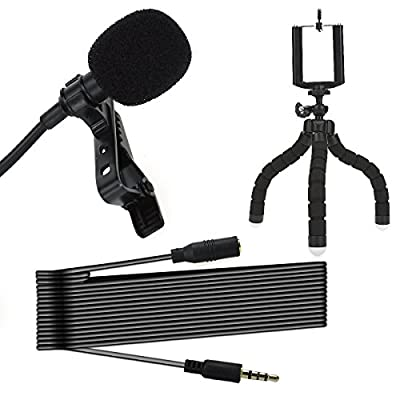 Lavidass Professional Lapel Microphone 3.5mm Omnidirectional Condenser Clip On Lavalier Mic with tabletop octopus phone tripod stand for Apple iPhone Android Smartphones