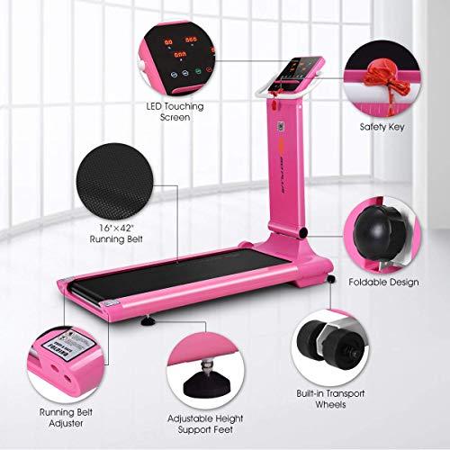 Goplus 1.5HP Electric Folding Treadmill Portable Motorized Running Machine Home Gym Cardio Fitness w/App (Pink) by Goplus (Image #1)