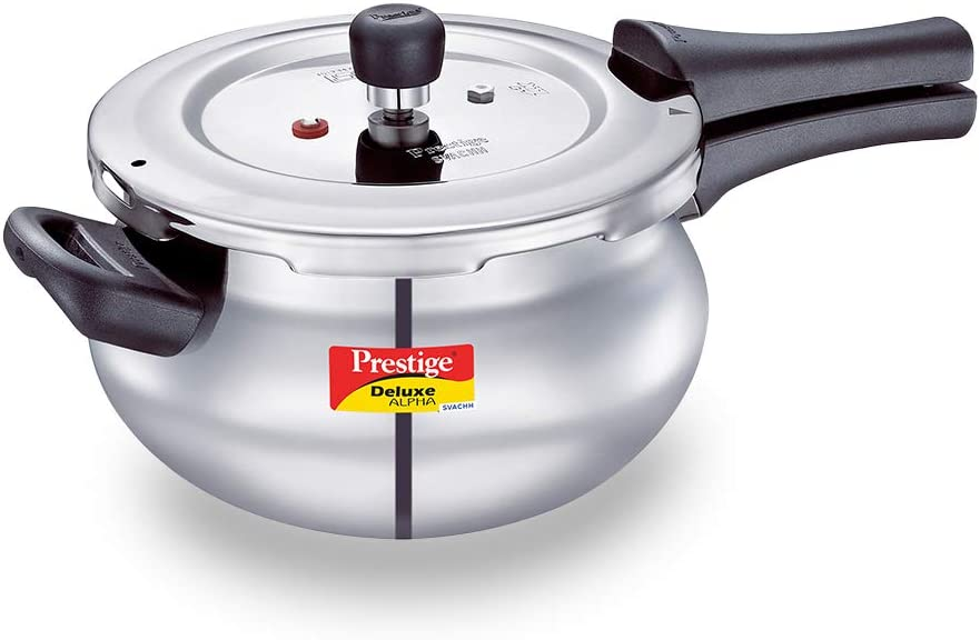 Prestige Deluxe Svachh Stainless Steel Pressure Cooker with Alpha Base and Deep Lid for Spillage Control, (3.3L Mini Handi), SILVER
