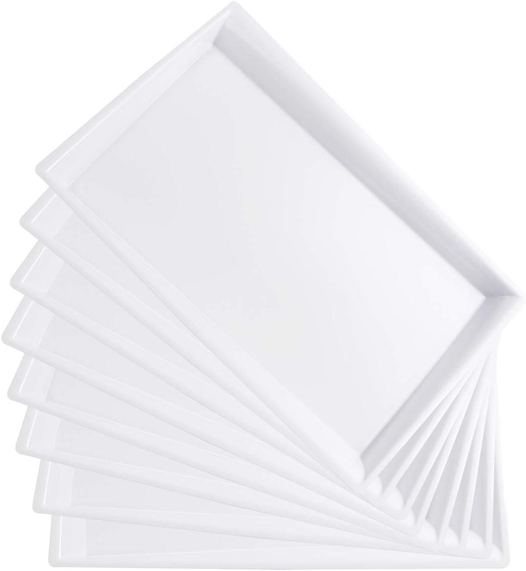I00000 8 Pack White Plastic Serving Tray, 15