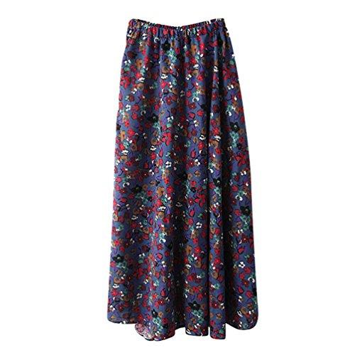 ZKOOO Longue Jupes pour Femmes Boheme Fleurs Impression Maxi Jupe de Plage Taille Haute Parapluie Skirts Style#17