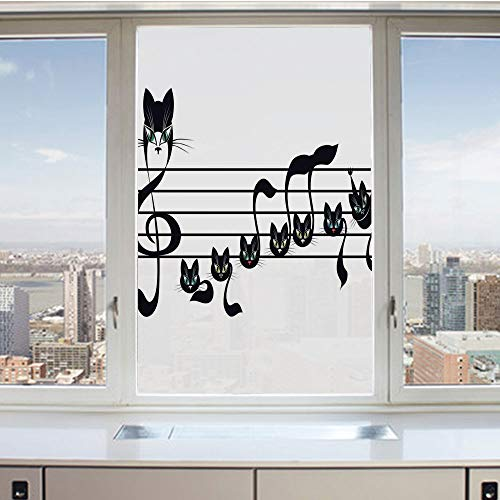 3D Decorative Privacy Window Films,Notes Kittens Kitty Cat Artwork Notation Tune Children Halloween Stylized,No-Glue Self Static Cling Glass Film for Home Bedroom Bathroom Kitchen Office 24x36 Inch