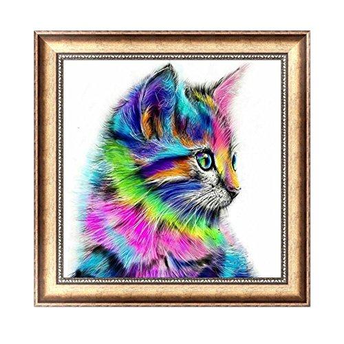Delight eShop DIY 5D Diamond Embroidery Colorful Cat Painting Mosaic Cross Stitch Home Decor ()