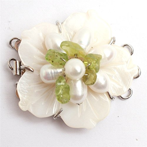 One Piece Pearl Clasps 3-Strands 32mm Natural Shell Carved Flower Fresh Water Pearl Clasp for Necklace Bracelet Jewelry (One Piece Clasp)