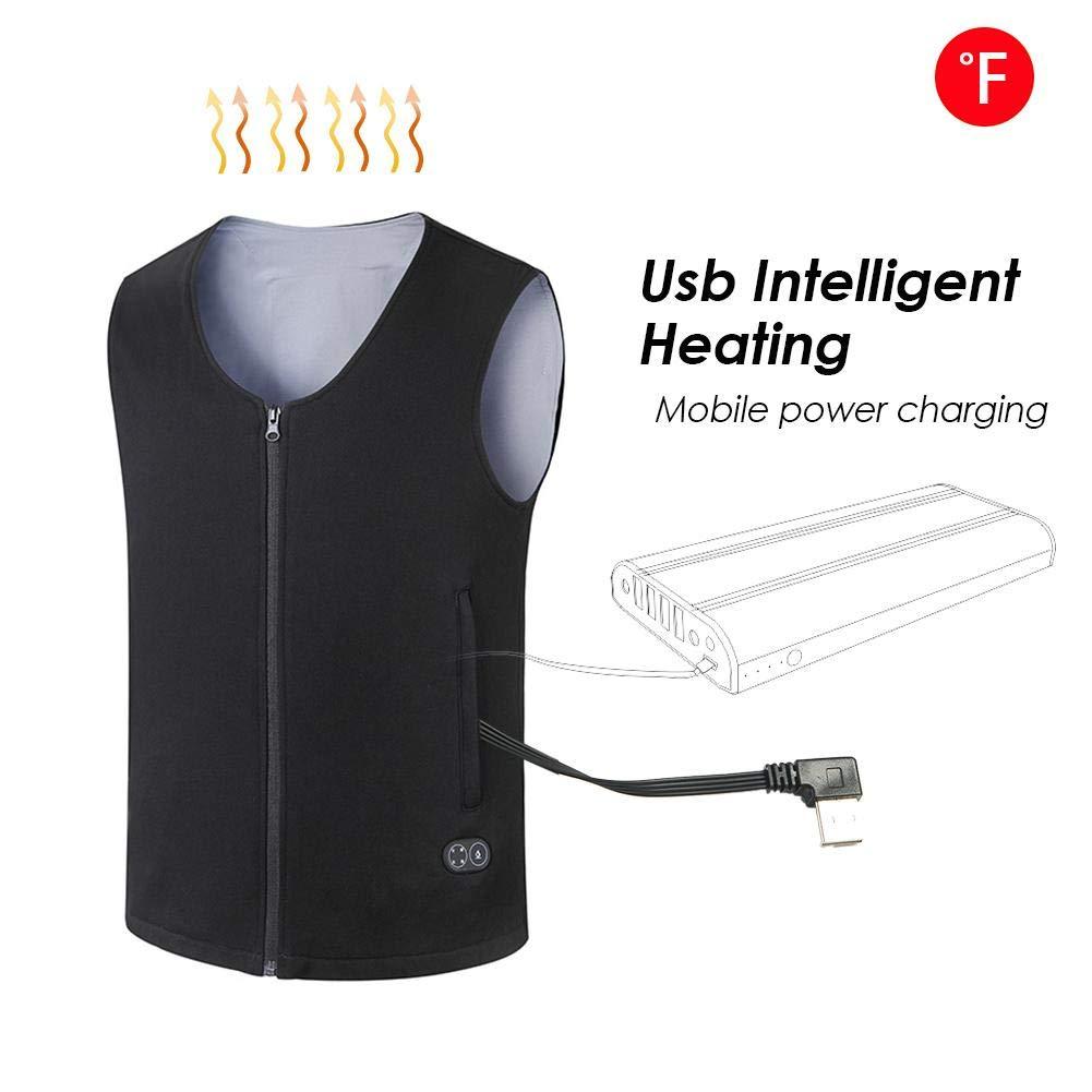 Chaleco de Calefacci/ón de Invierno Mejorado Carga USB Ajustable para Camping Senderismo PROKTH Chaleco Calefactado El/éctrico