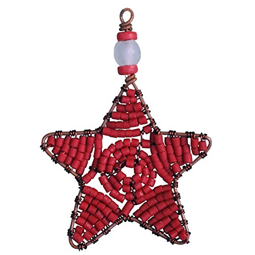 Global Craft Beaded Star Ornament Red - Global Mamas (H)