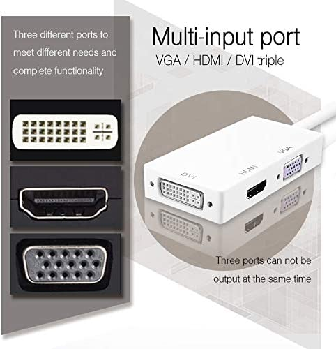ShineBear Thunderbolt 3 in 1 Mini DP to HDVI VGA DVI Cable Adapter Converter 1080P HD for MacBook Air Pro Mini Displayport 20Pin Male Cable Length: 18cm, Color: White