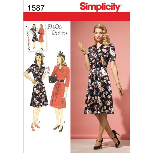 Simplicity Creative Patterns 1587 Misses' and Miss Petite 1940's Vintage Dress, R5 (14-16-18-20-22) ()