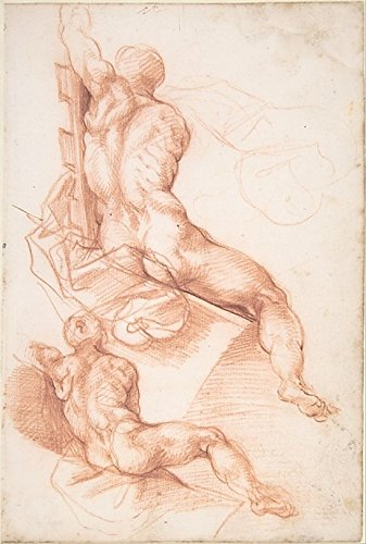 "Two Studies of a Seated Male Nude Seen from the Back Poster Print by attributed to Cherubino Alberti (Zaccaria Mattia) (Italian Borgo Sansepolcro 1553 ""1615 Rome) (18 x 24)"