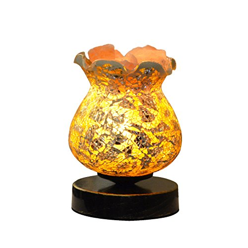 Baroque Ice (Maymii•Home Ice Gold Lampwork Glass Baroque Vintage Black Gold Metal Base Natural Carved Himalayan Pink Salt Rock Crystal Lamp Lamps Nightlight, UL Listed Control, 2 Bulbs, UL-Listed Cord & Bulb…)