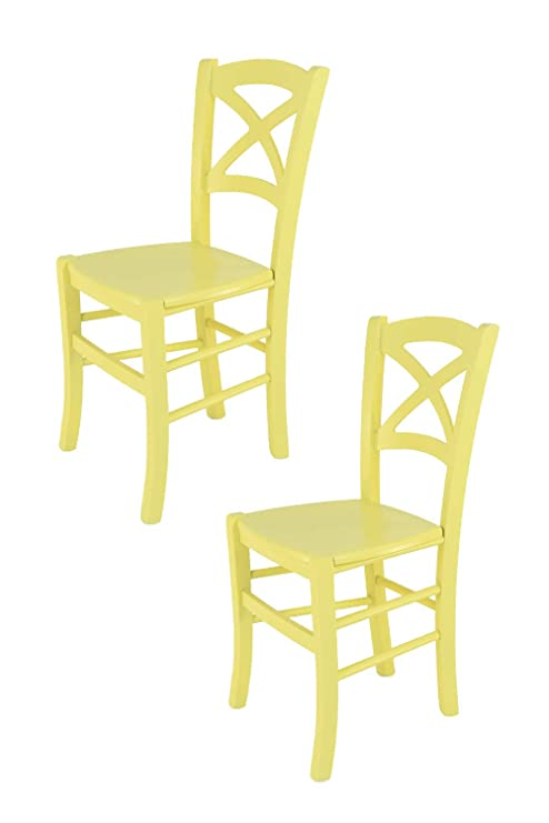 Tommychairs sillas de Design - Set de 2 sillas Modelo Cross de Cocina, Comedor, Bar y Restaurante, con Estructura en Madera barnizada Color Amarillo y ...