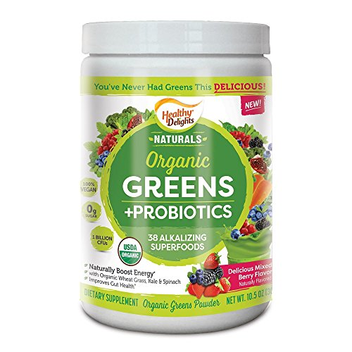 Healthy Delights Naturals, Organic Greens Superfoods, with Probiotics, Delicious Berry Flavored, 0.85 Pound