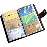 Boshiho® Leather Credit Card Holder Business ID Card Case Book Style 90 Count Name Card Holder Book (Black)