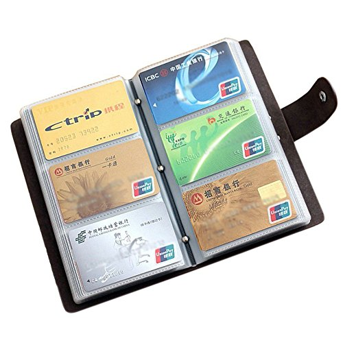 Boshiho Leather Credit Card Holder Business ID Card Case Book Style 90 Count Name Card Holder Book (Black) ()