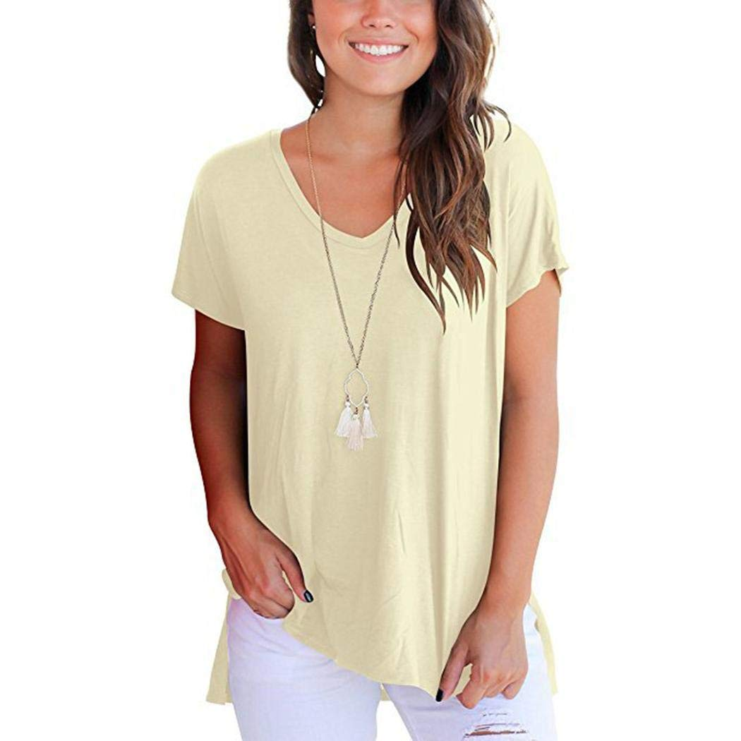 045aa34b2881e Euruse Women s Short Sleeve High Low Loose T Shirt Basic Tee Tops with Side  Split at Amazon Women s Clothing store