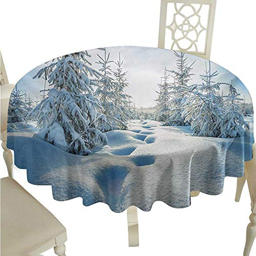 Blue Tablecloths Permalux - longbuyer Round Tablecloth Plastic Winter,Winter Landscape with Forest and Blue Sky Frosted Trees Footprints Seasonal Nature,Blue White D36,for 24 inch Table