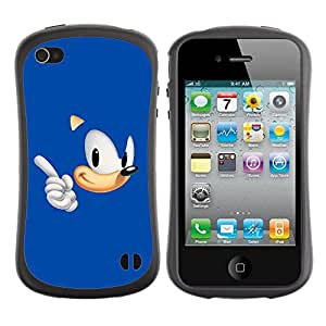 "Hypernova Slim Fit Dual Barniz Protector Caso Case Funda Para Apple iPhone 4 / iPhone 4S [Azul Hedgehog""]"
