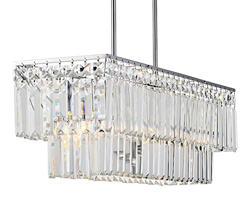 (APBEAM Clear K9 Modern Crystal Pendant Light Flush Mount Dining Room Light Fixtures Polish Chrome Finish Rectangle Rain Drop Chandeliers Restaurant Lamp Island Lighting L26