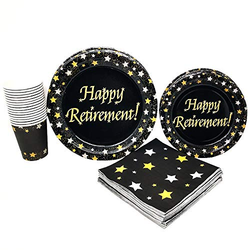 Retirement Party Supplies (65+ Pieces for 16 Guests!), Milestone Celebration Kit, Retirement Tableware Pack, Black, Gold and Silver Decorations]()
