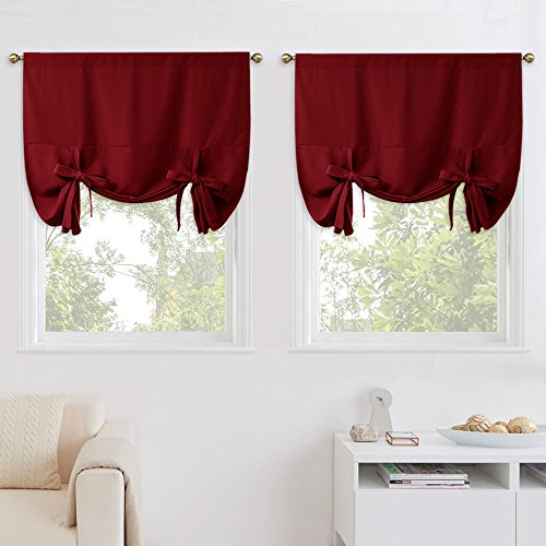 Tie Lined Up Valance - NICETOWN Burgundy Tie Up Shades - Soft & Sturdy Window Treatment Balloon Valance Drapes for Bathroom Window (1 Pair, Rod Pocket Panel, 46