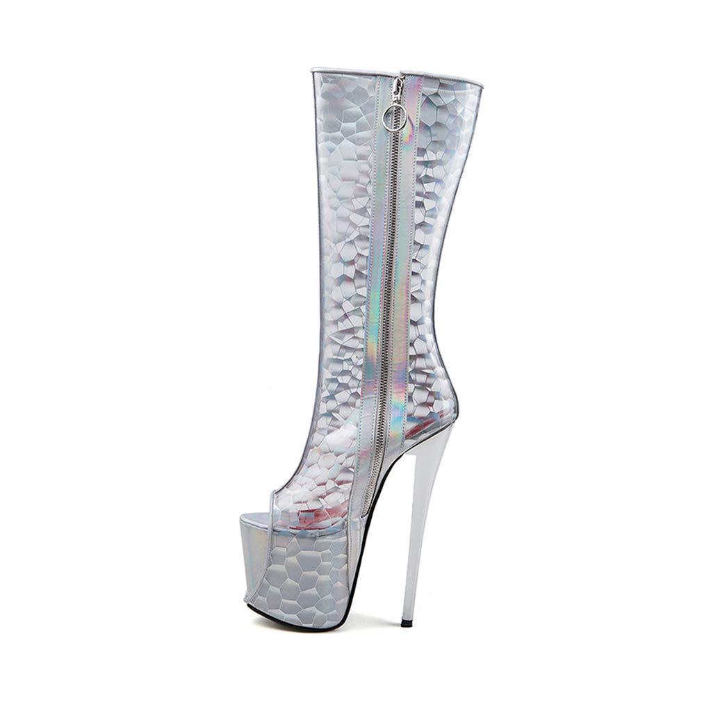 YAN Frauen Stiletto transparent hohe Stiefel PVC sexy spaß Bunte reißverschluss Schuhe Party & Abend Nachtclub Schuhe bühne Schuhe