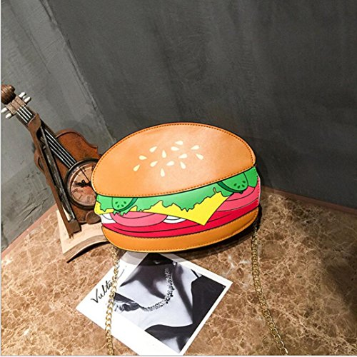Price comparison product image YJYdada Hamburger Fries Pattern Crossbody Bags Women Messenger Bags Chain Shoulder Bag (A)