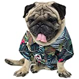 """LAMONDE Dog Hawaiian Shirt, Summer Dog Clothes, Puppy Cats Breeze Camp & Luau Apparel Outfits for Small to Medium Pets (Elegant Blue, Size 3: Neck 17.3"""" Chest 25.2"""" Back 15.7"""")"""
