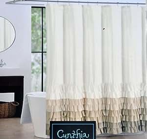 Amazon Com Cynthia Rowley Fabric Shower Curtain Tan Beige And Light Brown Flamenco Ruffles