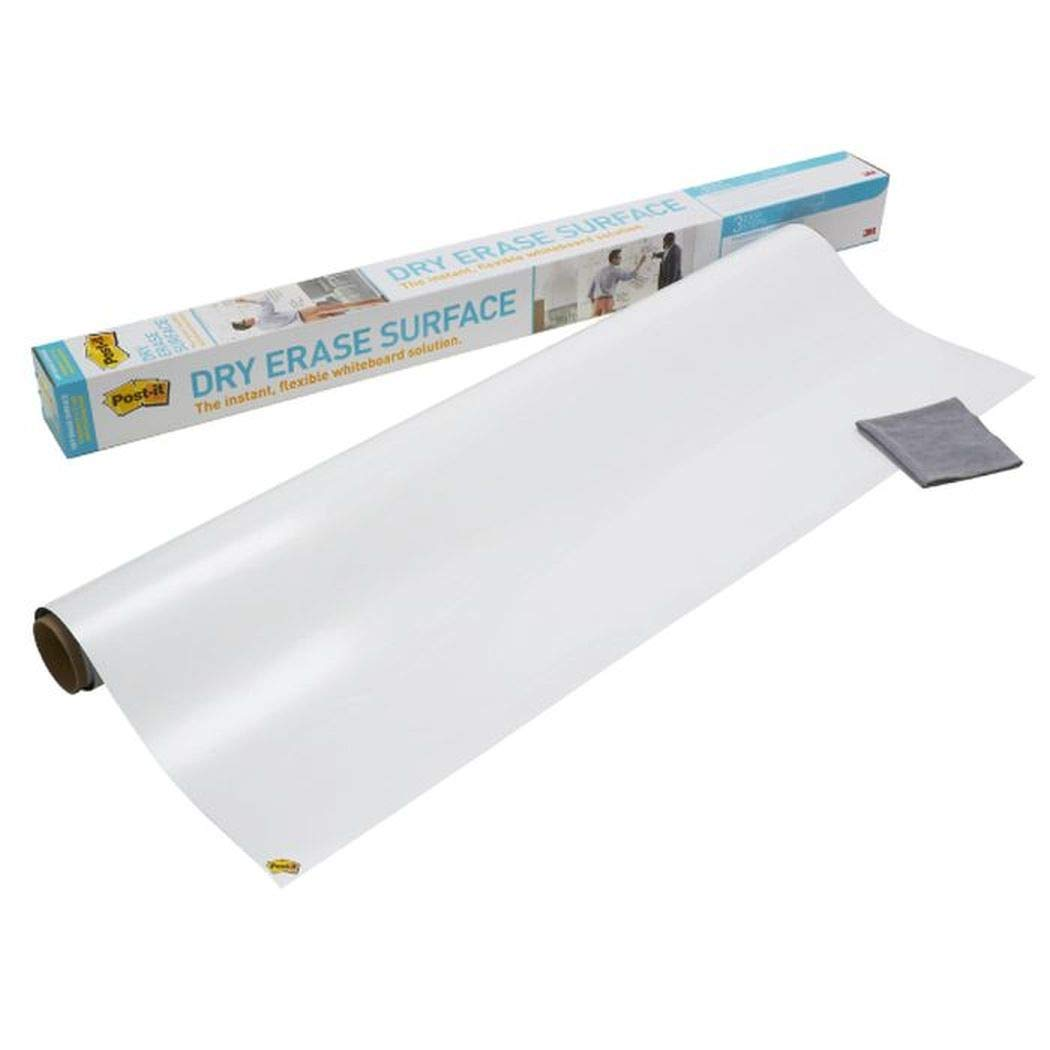 Post-it Dry Erase Whiteboard Film Surface for Walls, Doors, Tables, Chalkboards, Whiteboards, and More, Removable, Super Sticky, Stain-Proof, Easy Installation, 3 ft x 2 ft Roll (DEF3X2A)