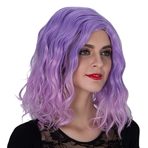 Ecvtop Fancy Colored Halloween Party Cosplay Wigs ,Purple Ombre Pink (Diana Ross Wigs)