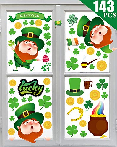 MISS FANTASY 143PCS St Patrick#039s Day Window Clings Stickers St Patricks Day Window Decorations St Pattys Day Window Decals for The Home Classroom