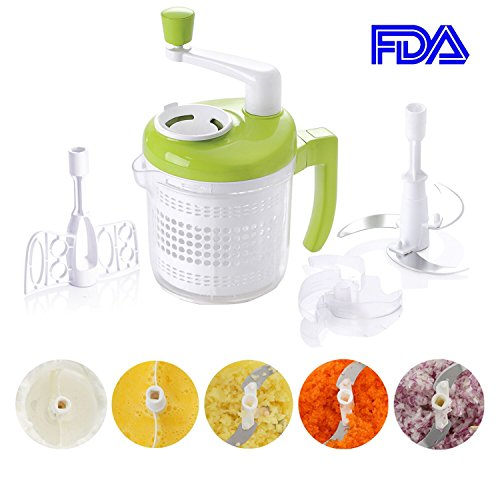 Smile mom All-In-One Manual Food Chopper, Vegetable Chopper,Salad Spinner,Egg Seperator, Eggbeater, Whipper, Blender, Dicer, Mixer, Measuring Cup for Liquid, A385, Green-White