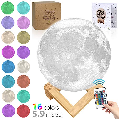 3D Moon Lamp - 16 Color Moon Night Light with Stand - Mood Lamp Book, Globe, Cool Lamp, USB Charging (5.9 inch Moon lamp 16 Color) ()
