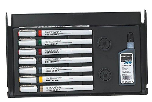 Waterproof Technical Pen Set with India Ink - Set of 7 by Alvin and Company