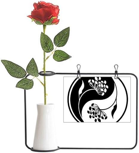 Amazon Com Culture Yin Yang Black White Flower Artificial Rose Flower Hanging Vases Decoration Bottle Home Kitchen