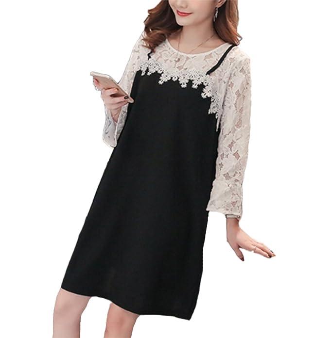 Jackmai Vestido de Maternidad Embarazada Encaje Costura Vestidos Largos Vestido de Lactancia para Mujeres