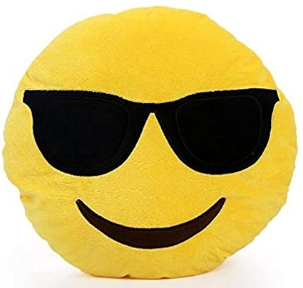 NO 1: Emoji rond-Coussin Smiley-Expressions-Peluche-Peluche-Lunettes