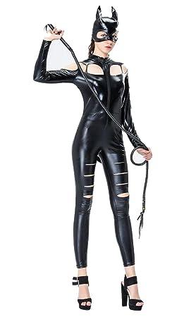 Disfraz De Mujer Sexy Negro Catwume Traje Traje De Látex De ...