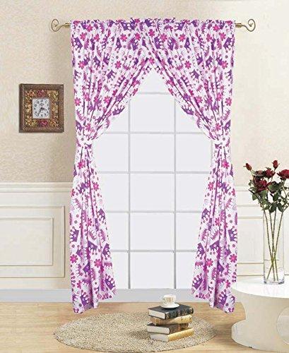 Decotex 4 Piece Princess Crown Kids Window Curtain Panel Drape Set with Tie Backs (Princess Crown Curtains) (4 Full Panel Piece)