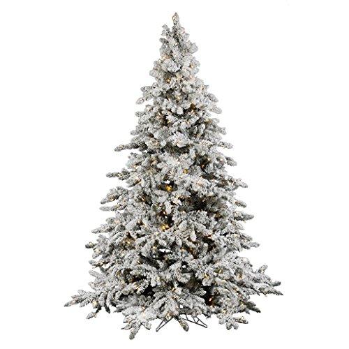 Vickerman Pre-Lit Flocked Utica Fir Tree with 700 Warm White Italian LED Lights, 7.5-Feet, Flocked White on Green (Flocked Utica Tree)