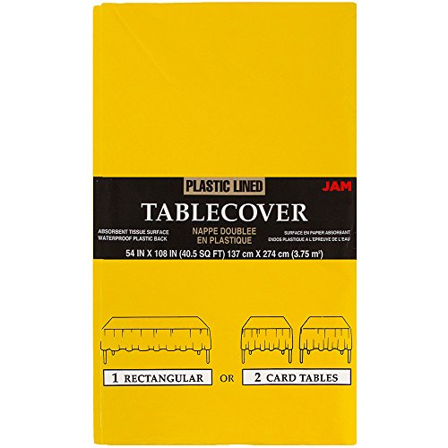 JAM PAPER Rectangular Paper Table Cover with Plastic Lining - 54 x 108 Inches - Yellow - 1 ()