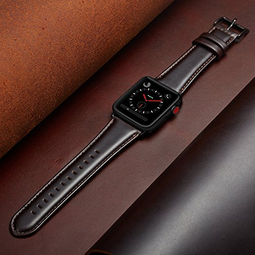 OUHENG Compatible for Apple Watch Band 42mm, Retro Genuine Leather iWatch Strap Replacement Compatible for Apple Watch Series 3 Series 2 Series 1 Sport Edition, Brownish Black Band with Black Adapter by OUHENG (Image #5)