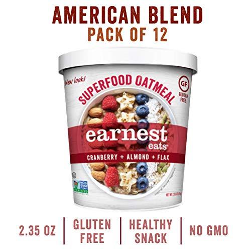 Earnest Eats Gluten-Free Superfood Oatmeal, Quinoa, Oats & Amaranth, Vegan, Healthy Snack, American Blend, 2.35oz Cup, 12-Pack