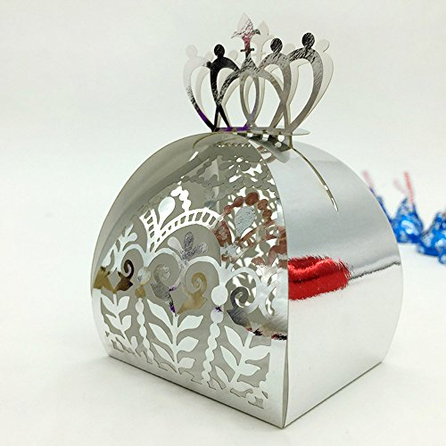 WOMHOPE 50 Pcs - European Style Crown Lock Hollow Laser Cut Wedding Candy Box Chocolate Candy Wrappers Holders Party Favors for Bridal Shower,Wedding,Party,Birthday (Silver(Reflect light)) Chocolate Theme Bridal Shower